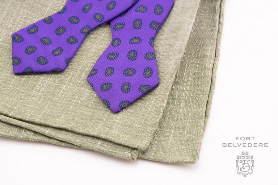 Batswing Purple Madder Silk Bow tie with green linen pocket square - Handmade by Fort Belvedere (16 of 16)
