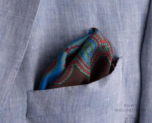 Brown, red, green, blue paisley inspired pocket square