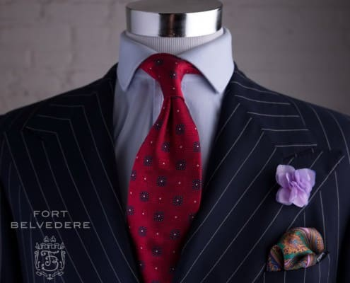 Purple Paisley Pocket Square with violet Hydrangea Boutonniere and red jacquard necktie - by Fort Belvedere