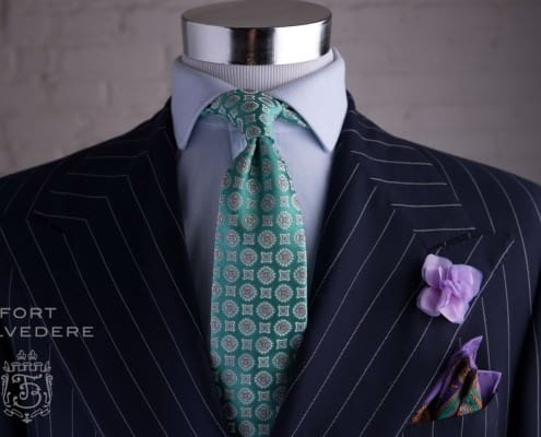 Hydrangea Silk Petal Boutonniere, with purple paisley Pocket Square Large Paisley & Tie in Green Jacquard - by Fort Belvedere