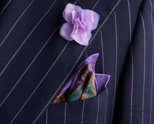 Chalk stripe suit by Ralph Lauren Purple Label with Hydrangea Silk Petals & Wool Pocket Square Large Paisley - by Fort Belvedere