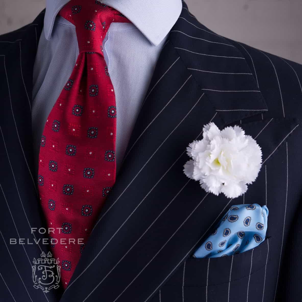 7 Quality Hallmarks Of A Tie Gentlemans Gazette Dasi Bowtie Knit Slim Wedding Best Man Self Bow Purple Flower Chalk Stripe Suit With White Large Carnation Light Blue Silk Pocket Square And Red Jacquard