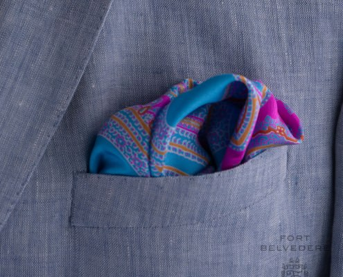 Flamboyant Pocket Square in light blue, pink and orange silk by Fort Belvedere