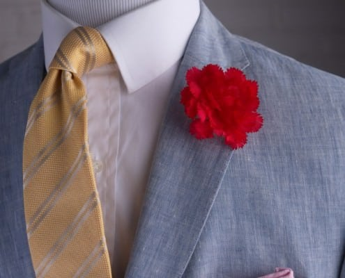 Tie in Yellow Jacquard Double Stripe with Red Large Carnation Boutonniere on linen light pink pocket square by Fort Belvedere