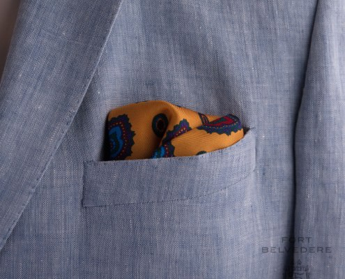 Orange yellow silk pocket square with blue green, red & purple diamonds by Fort Belvedere (5)