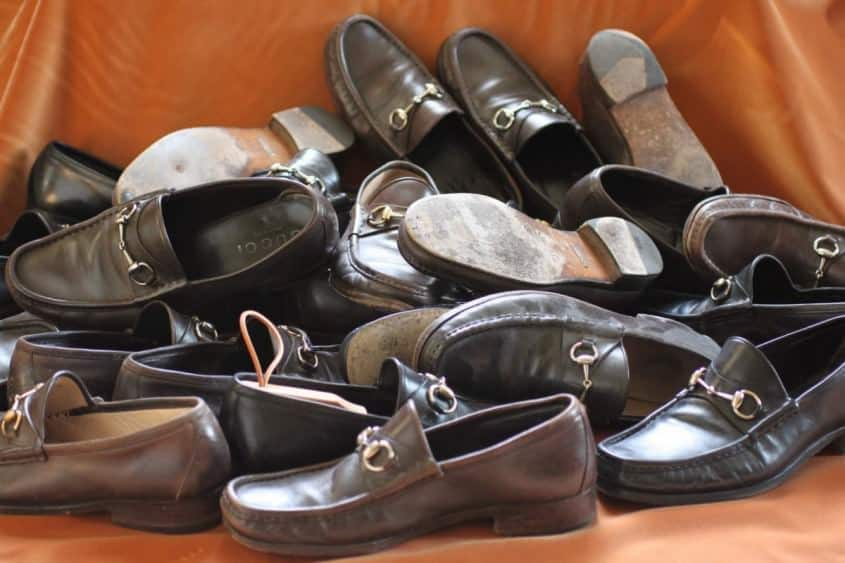Selection of worn out Gucci Loafers