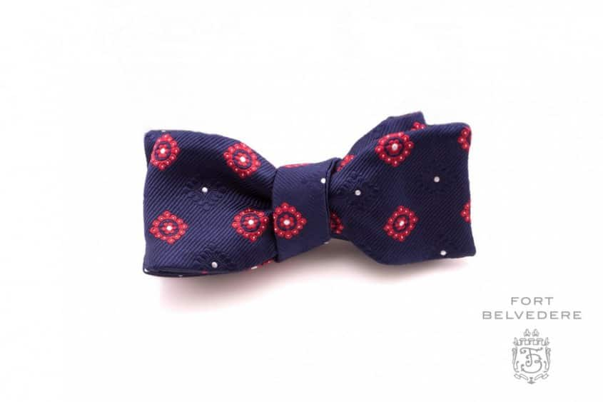 Jacquard Woven Navy & Red Silk Bow Tie by fort Belvedere