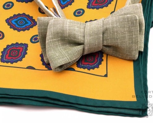 Fresh Green summer bow tie and yellow silk pocket square by Fort Belvedere