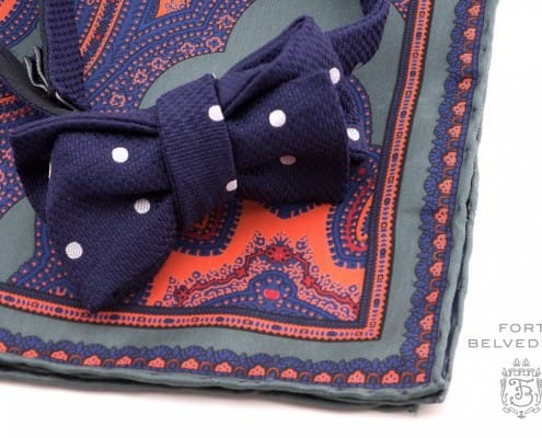 Large Woven Polka Dot bow tie in navy on green, orange and blue silk pocket square by Fort Belvedere