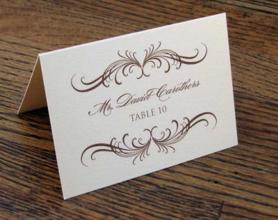 The place card will have your name and table number