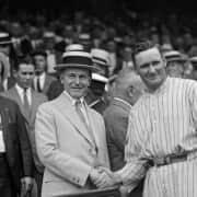 Boater Hats at a Baseball game - Walter Johnson & Calvin Coolidge