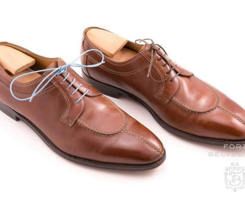 Brown Derby Shoes with Light Blue Shoelaces by Fort Belvedere - Before & After