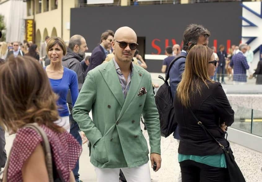 Green summer DB blazer with white pants