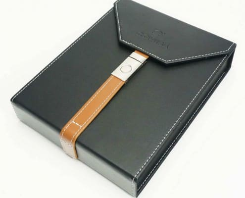Leather bound travel humidor by Cohiba