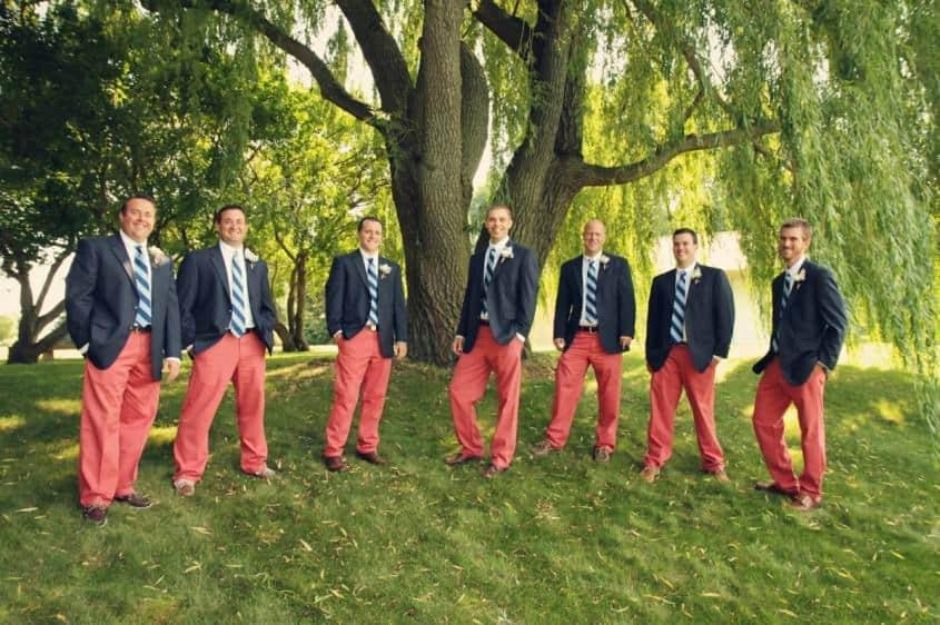 Preppy Groomsmen in Nantucket Reds