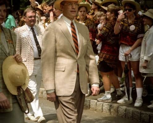 Princeton President Hal Shapiro in the P-Rade 1992 wearing a Prince of Wales check with University tie and hat band