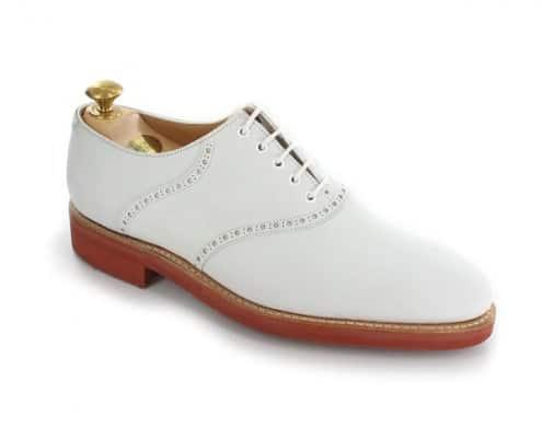 White Buckskin saddle shoe Hobart 3 by Crockett & Jones