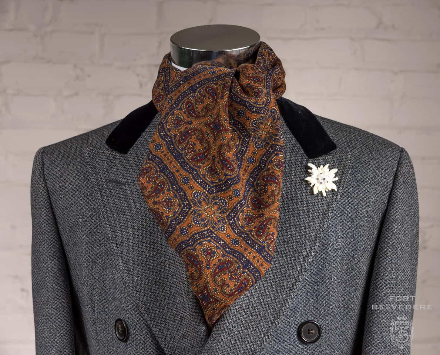 Edelweiss Boutonniere Double Sided Wool Silk Orange, Red & Blue Pattern & Checks Scarf by Fort Belvedere
