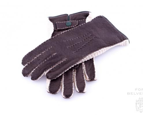 Peccary Gloves in Dark Chocolate Brown withcontrast stitching & crochet with snap button by Fort Belvedere