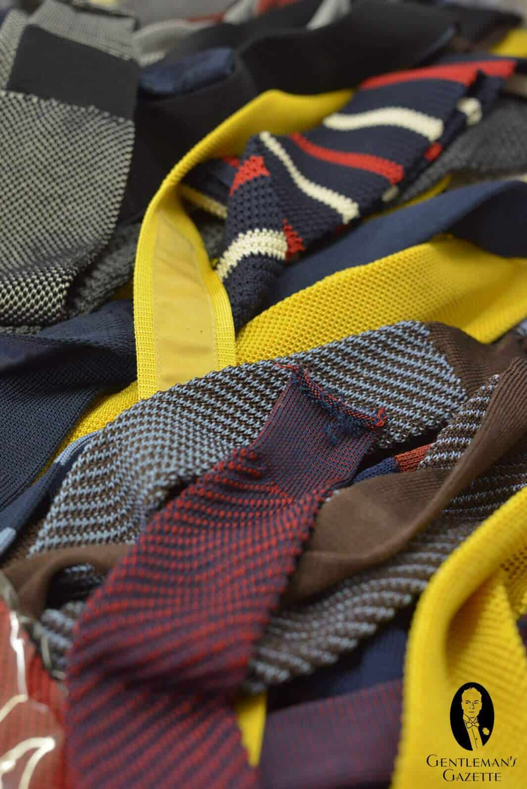 A Number Of Different Round Knit, Soft Knit Ties