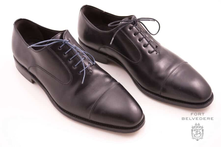 4723faf1a9b8 Black Captoe Oxford with dark gray and black dress shoelaces by Fort  Belvedere