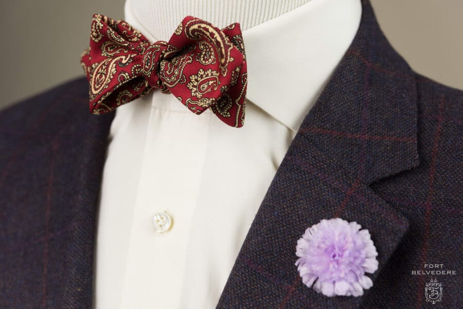 Ancient Madder Silk Paisley Bow Tie in Red & Buff paired with Field Scabious Boutonniere - Fort Belvedere