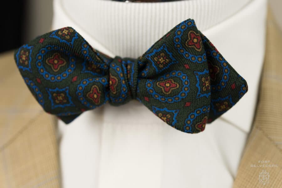 Bow Ties of English Madder Silk Wool Challis - Handmade by Fort Belvedere-8113