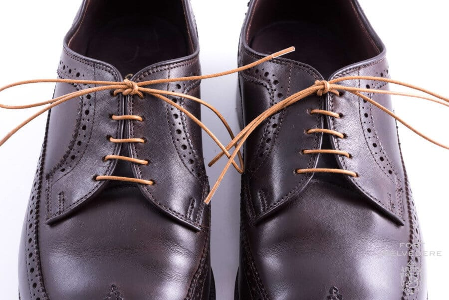 Light Brown Cotton Shoelaces on Dark Brown Derby Shoes with Bar Lacing