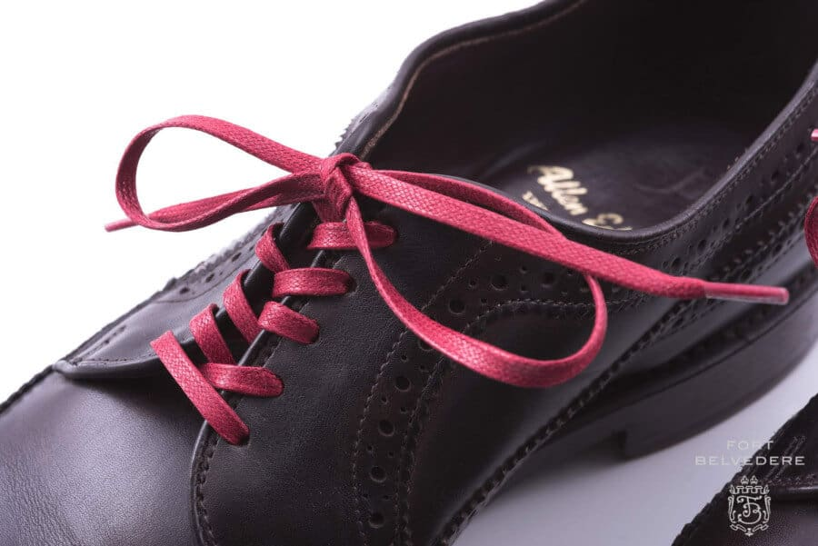 544e7fb15e0d Red Flat Waxed Cotton Laces on Derby Shoe in Criss Cross Lacing