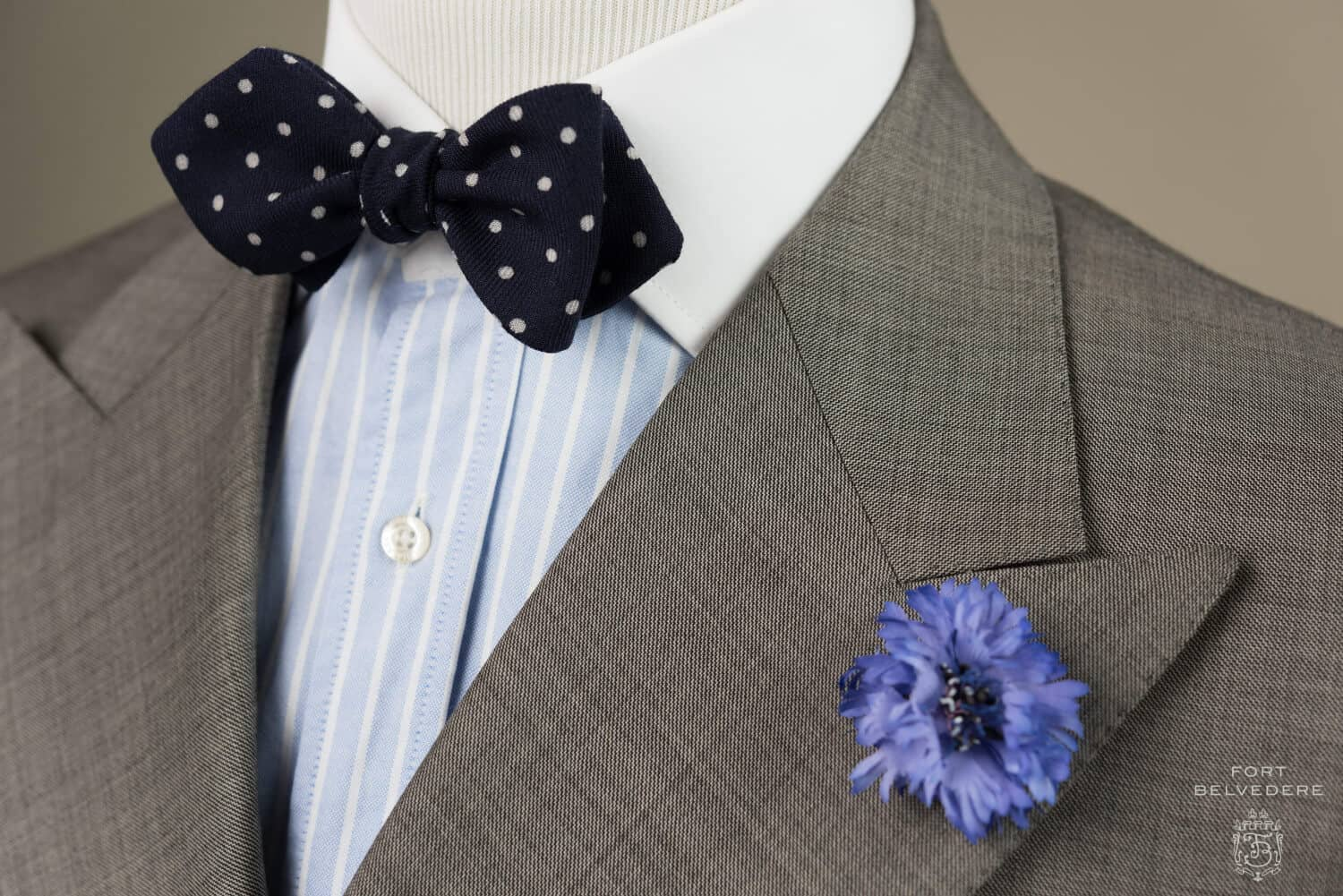 Winchester shirt with Wool Challis Navy Bow Tie with White Polka dots paired with Blue Cornflower Boutonniere Buttonhole Flower Silk - Handmade by Fort Belvedere