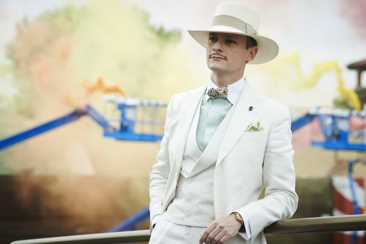 Off white 3 piece suit pastel green winchester shirt panama hat and