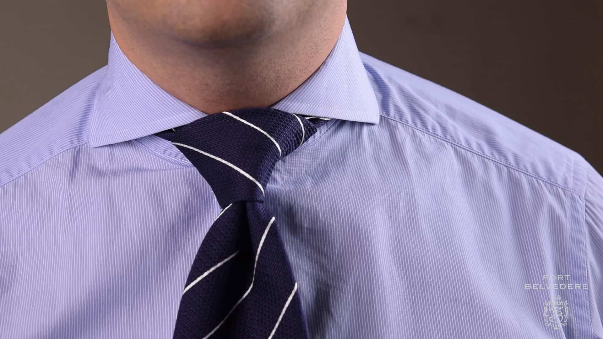 Half Windsor Knot With Thick Navy Striped Tie By Fort Belvedere