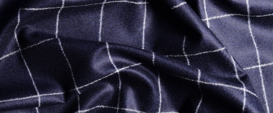 Blue Woollen Carded Flannel with Windowpanes