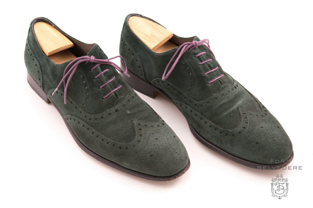 Green suede full brogue with purple shoelaces by Fort Belvedere