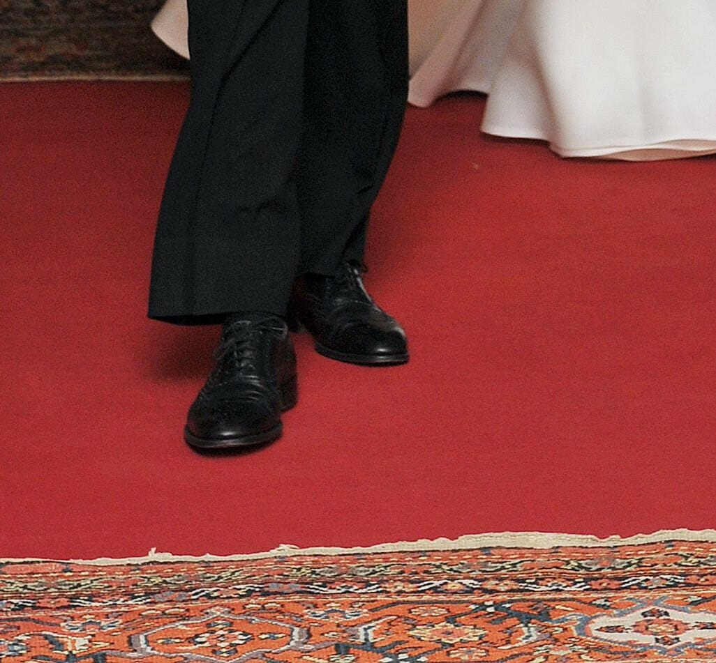 Close up of Prince William's wingtips
