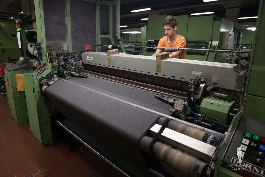 Fabric being machine woven at Vitale Barberis Canonico