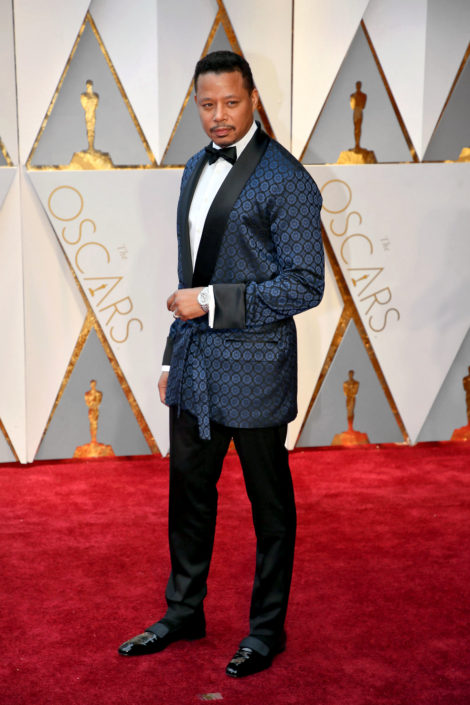 Terrence Howard in House Jacket with patent leather slippers which are technically wrong, because unlike Opera Pumps or Court Shoes, they do not show the socks