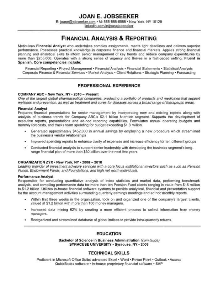 An example of a well formatted resume