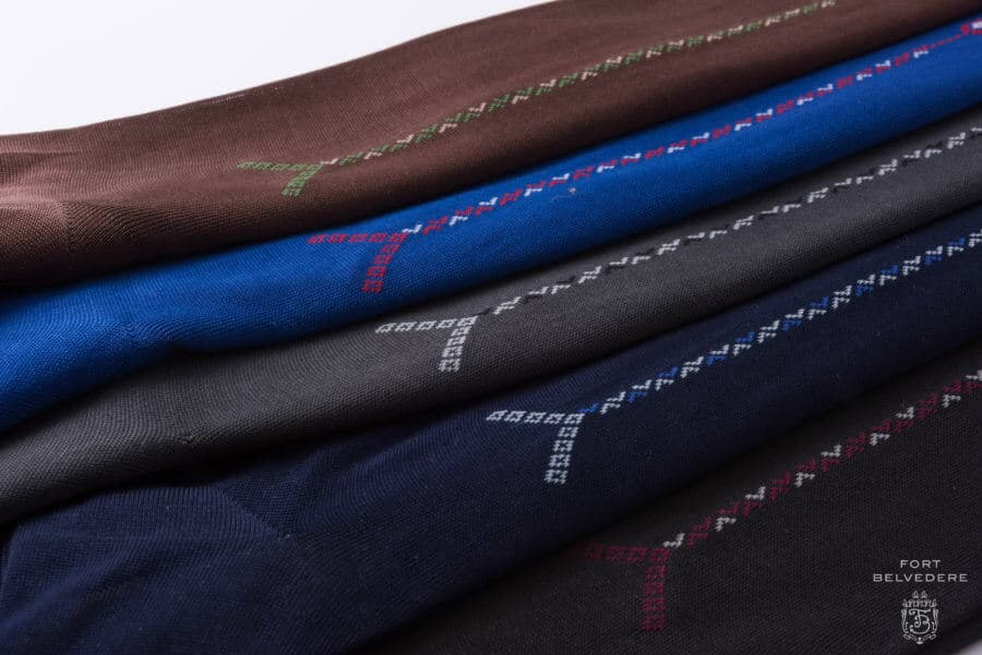 Brown, Blue, grey, Charcoal, navy Over the Calf Socks with Clocks in Luxury Fil d Ecosse Cotton in 4 Sizes Made in Italy by Fort Belvedere ankle 2