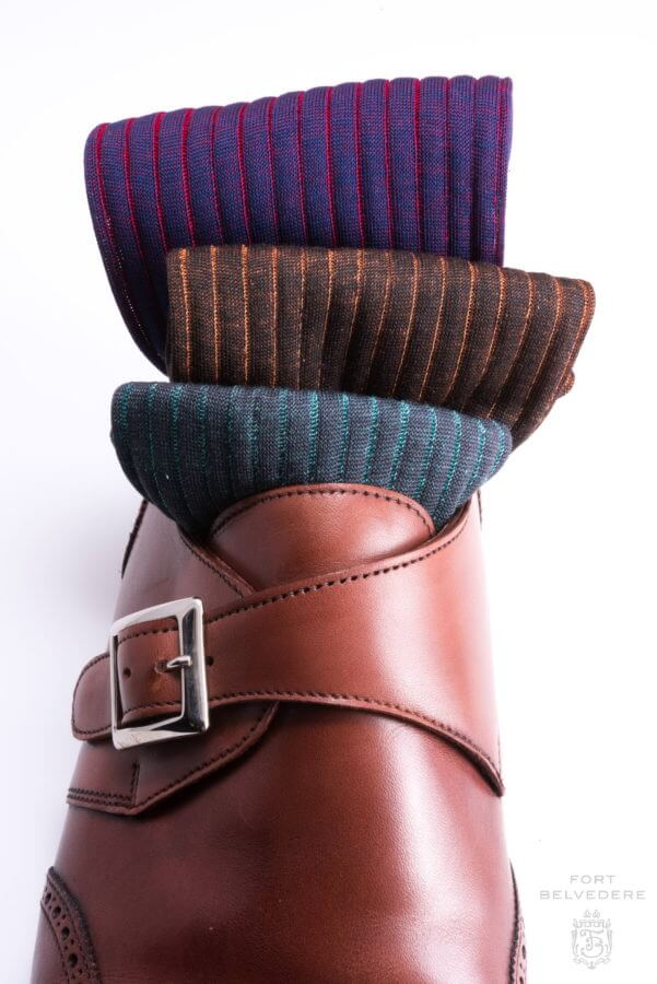 Navy Blue and Red orange Turquoise grey charcoal Ribbed Over the Calf Socks with Shadow Stripes Cotton Fil d Ecosse - Made in Italy by Fort Belvedere