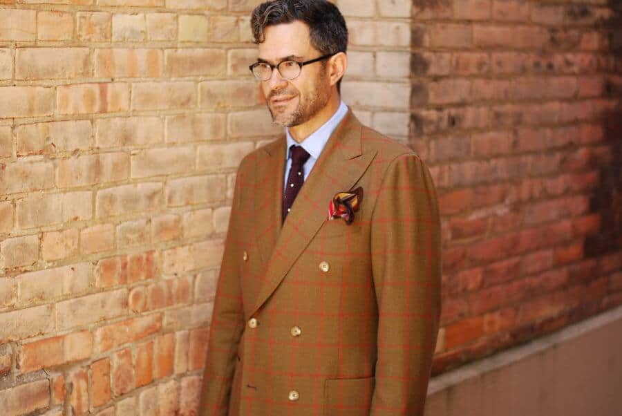 Pedro Mendes with windowpane DB jacket, dotted burgundy knit tie and flamboyant pocket square