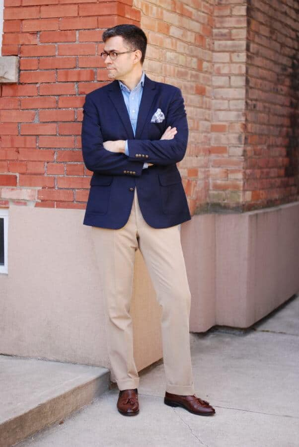 Single Breasted Blazer with popover shirt, cotton pocket square, khakis and brown tassel loafers