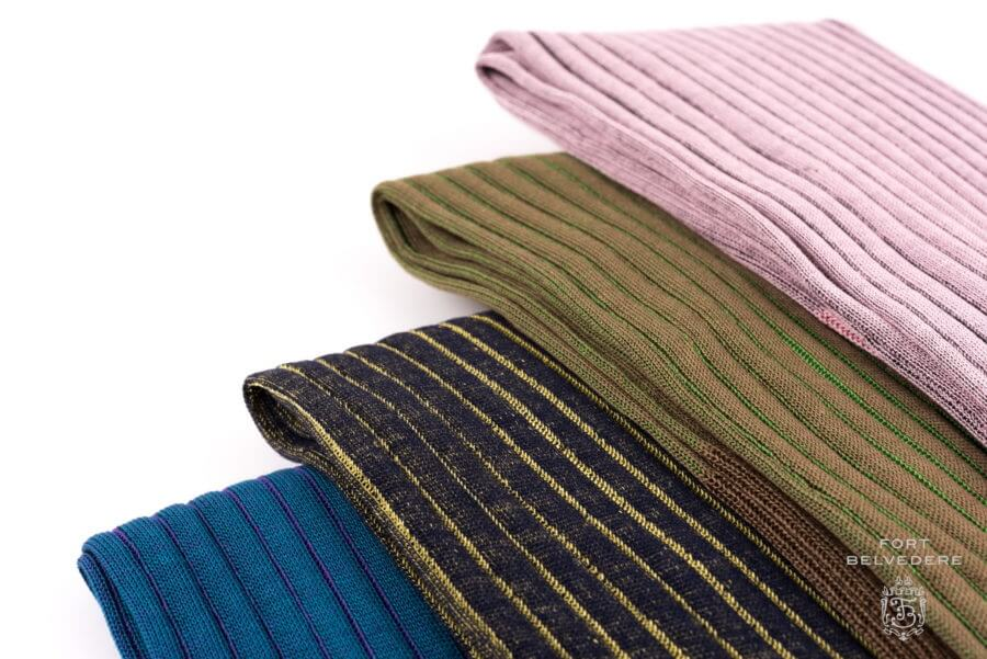 Pink grey - brown green - teal purple -navy yellow over the calf Ribbed Shadow Stripe Mens Socks 100% Cotton- Fort Belvedere Made in Italy