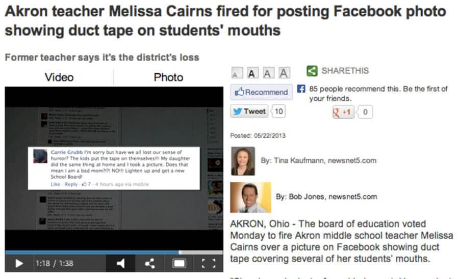A news article on another person fired due to social media posts