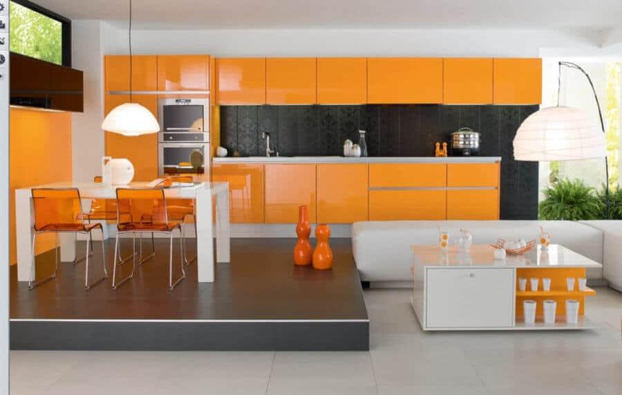 dapur jelas dan bersih dapat bertindak sebagai titik fokus untuk konsep ruang terbuka