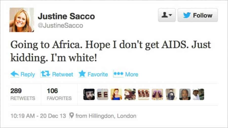 Justine Sacco posted a Tweet which ended her career as a powerful executive