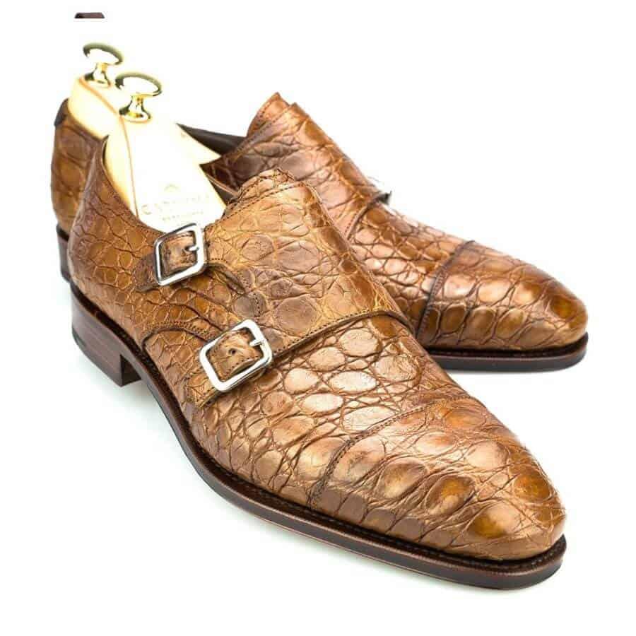 Carmina alligator double monk strap shoe