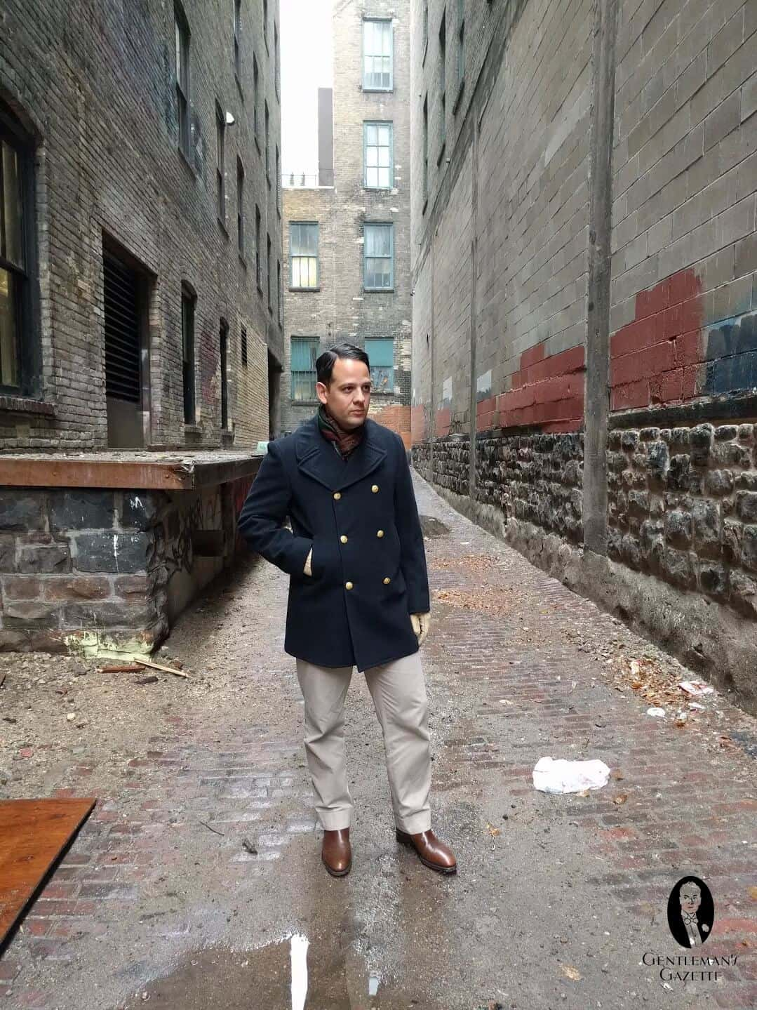 Peacoat with double sided scarf, Jodhpur boots and Chinos - Business Casual
