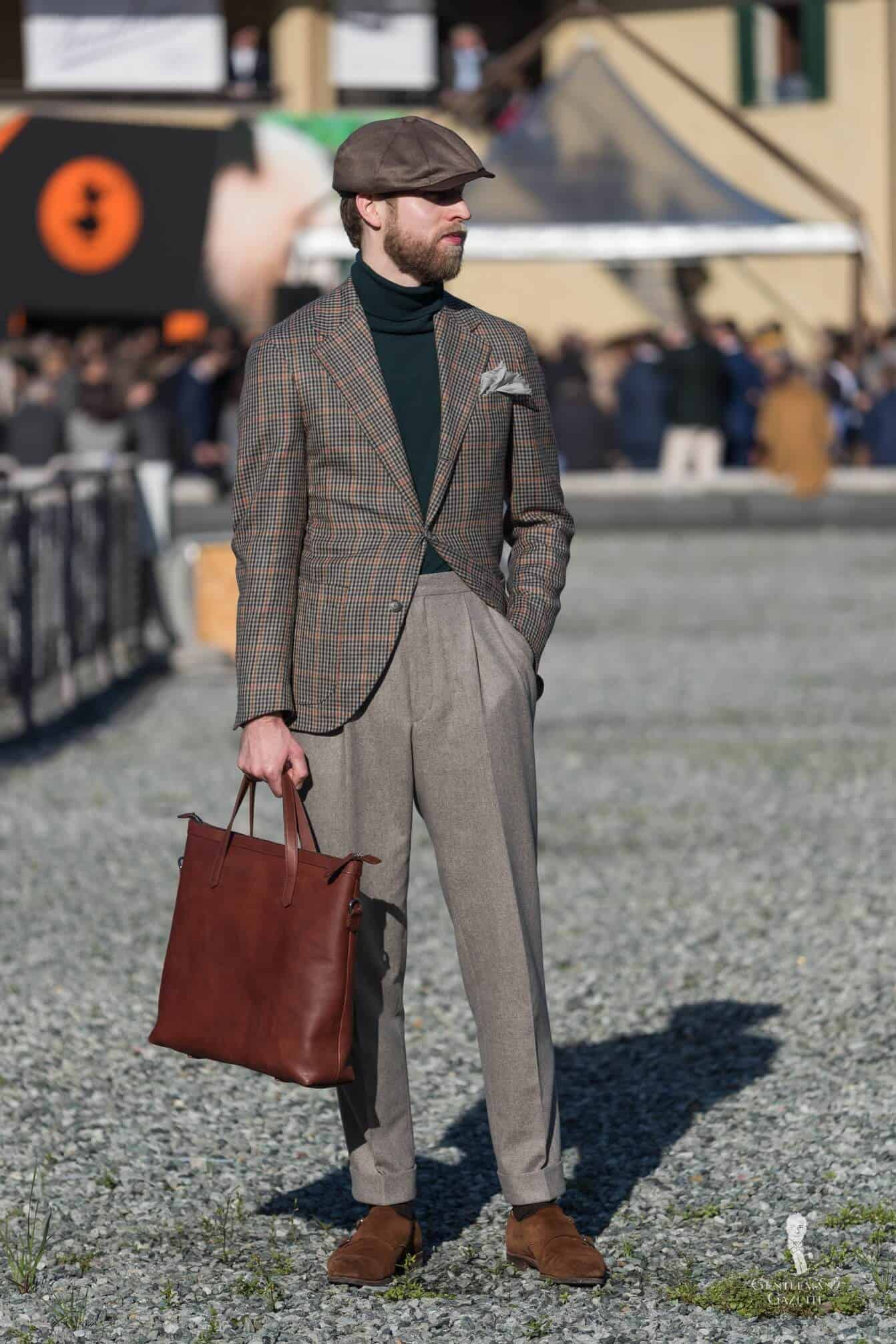Wonderful Business Casual Outfit For Fall With Brown Suede Double Monks And Green Turtleneck