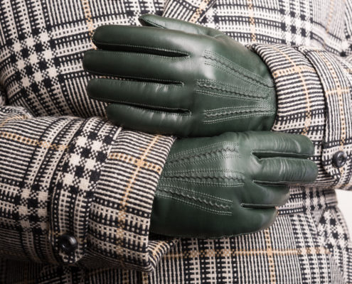 British Racing Green Lamb Nappe Leather Gloves with overcoat Fort Belvedere
